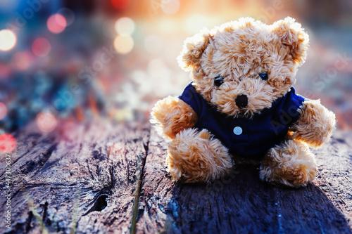 Fototapeta Teddy bear sitting on a wooden floor in the morning with beautiful bokeh