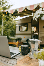Modern Laptop Device For Work, Hot Coffee And Apple For Lunch. Work On Fresh Air, On Vacation, From Any Place. Technology, Remote Job, Freelance, Nature, Holiday, Online Concept