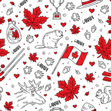 Happy National Day Of Canada, Seamless Pattern With Traditional Symbols And Icons In The Doodle Sketch Style. Vector Concept For Fabric And Printing. Flag, Maple Leaves And Animals.