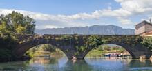 Beautiful View Of Medieval Arch Bridge In Virpazar. Montenegro