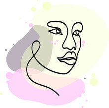 Skin Care Modern Line Art Girl Portrait