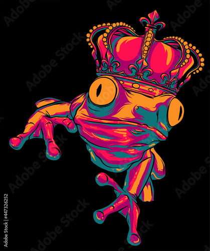 Fotografie, Obraz Cartoon illustration of a frog wearing a crown. vector