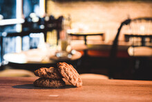 Crunchy Oat Cookies On A Wooden Table In A Cafe