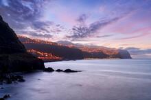 Dusk Over The Illuminated Coastal Village Of Ponta Do Sol, Madeira Island, Portugal, Atlantic