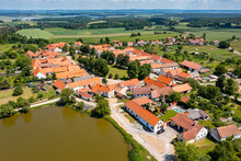 Aerial Of The Historic Village Of Holasovice, UNESCO World Heritage Site, South Bohemia, Czech Republic