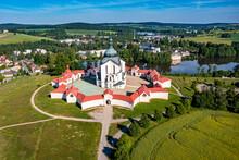Aerial Of The Pilgrimage Church Of Saint John Of Nepomuk, UNESCO World Heritage Site, Zelena Hora, Czech Republic