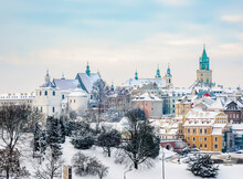 Old Town Skyline Featuring Dominican Priory, Cathedral And Trinitarian Tower, Winter, Lublin, Lublin Voivodeship, Poland
