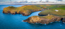 Aerial Vista Of Doyden Castle On The Headland At Port Quin In Spring, Cornwall, England