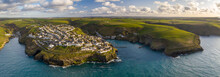 Aerial View Of Port Isaac And Surrounding Coastline, North Cornwall, England