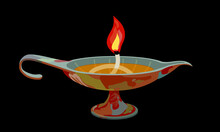 Decorative Ancient Oil Lamp With A Wick And A Red Flame, Interior Element, Color Vector Illustration On A Black Background In A Cartoon Style And Flat Design