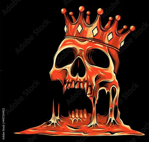 Fotografie, Obraz vector illustration with skull in crown on black background