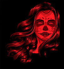 Woman With Sugar Skull Face Paint Vector Illustration