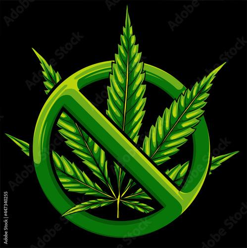 Obraz na plátně Sign of prohibition cannabis