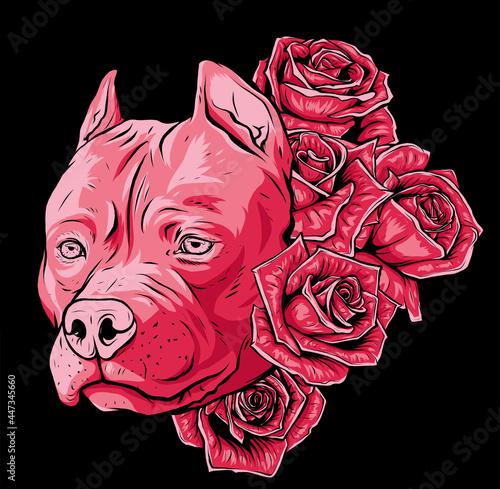Fotografie, Obraz head of dog with roses vector illustration