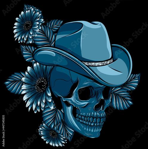 Fototapeta Vector illustration of skull with hat and flower