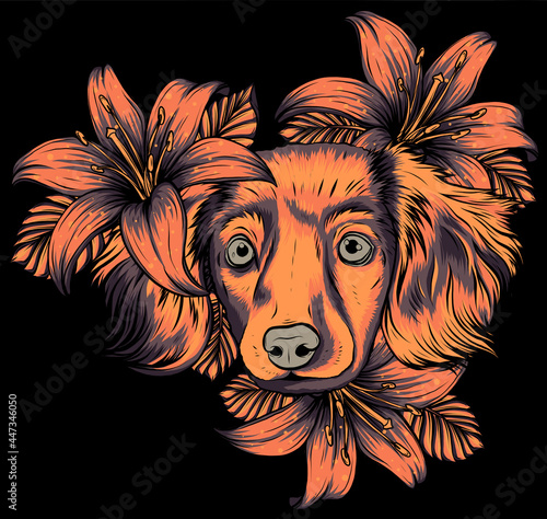 Obraz na plátně Portrait of a Spaniel dog in a flower head wreath