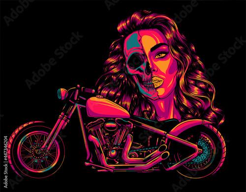 Fotografie, Obraz vector illustation vintage chopper motorcycle with woman face