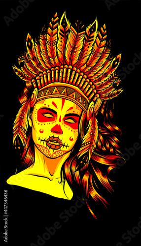 Fotografie, Obraz Beautiful girl in a headdress of North American Indians.