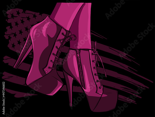 Fotografie, Obraz vector boots in woman legs with american flag illustration