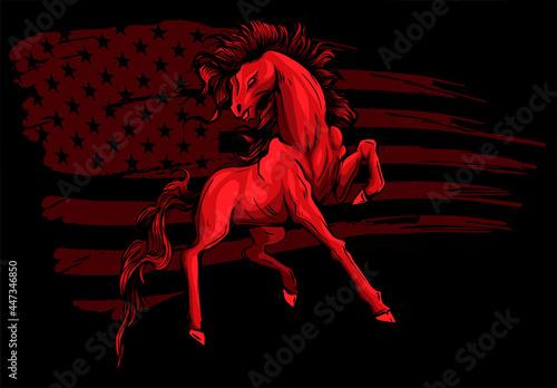Fototapeta American Horse wirh Flag Logo Vector illustration