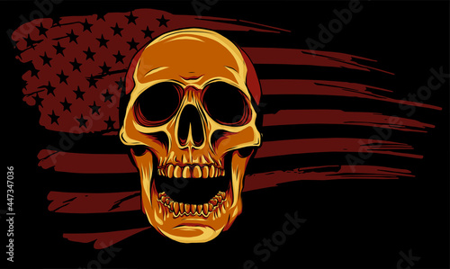 Obraz na plátně Skull and flag usa. Vector illustration design