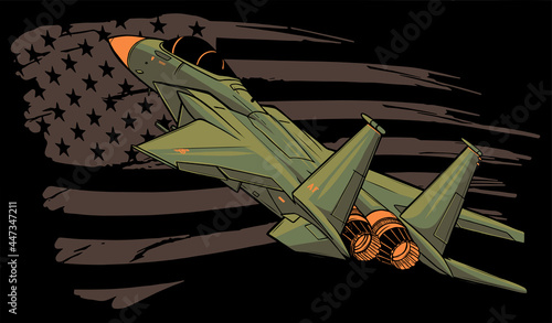 Fotografie, Obraz Military fighter jets with american flag. Vector illustration