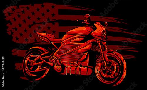 Fotografie, Obraz motorbike with american flag vector illustration design