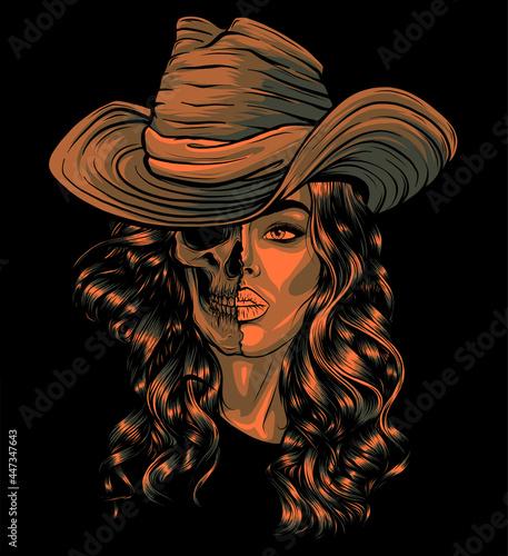Obraz na plátně face girl with skull and hat vector