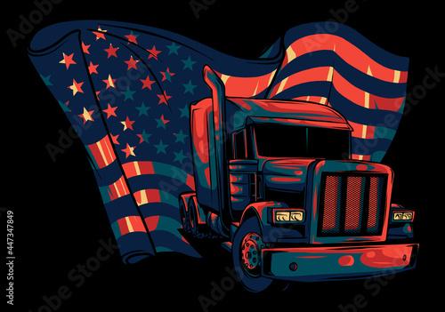 Fotografie, Obraz Classic American Truck. Vector illustration with american flag