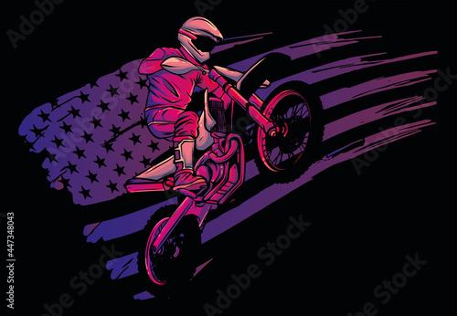 Obraz na plátně motocross rider ride the motocross bike vector illustration