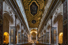 Interior Of Amalfi Cathedral (Cattedrale Di Sant'Andrea) Seen From The Entrance, Italy