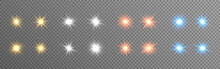 Glowing Lights Set. Color Stars On Transparent Backdrop. Bright Flares Collection. Sparkling Christmas Elements. Festive Effects And Rays. Vector Illustration