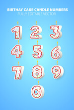 Vector Birthday Candle Numbers Wax Candles For Cake Fully Editable Vector Blue Background Numbers # 0 1 2 3 4 5 6 7 8 9