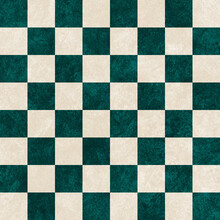 Geometric Grid With Green And White Squares. Geometrical Chess Board. Non Figurative Pattern For Print, Background.