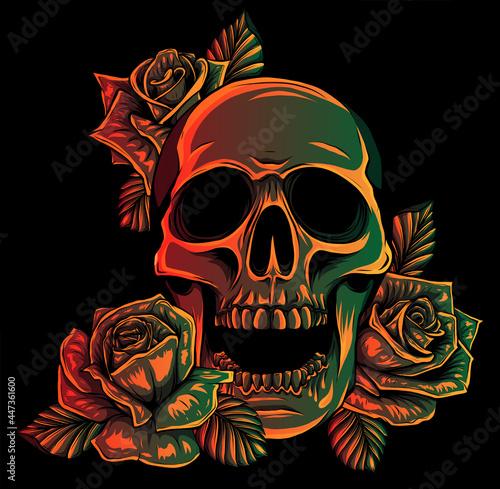 Fotografie, Obraz A human skulls with roses on black background vector illustration