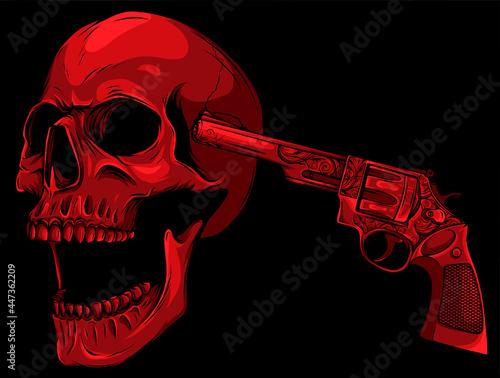 Obraz na plátně colored Danger skull with revolver vector illustration