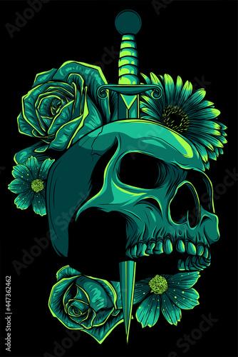 Fototapeta skull stabbed by the dagger vector illustration