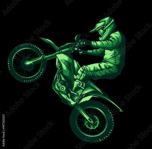 Fotografie, Obraz Motocross jump on black background, vector illustration