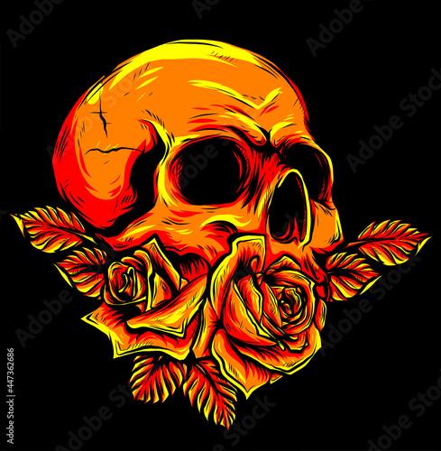 Fototapeta illustration Human skull with roses on black background
