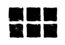 Set Of Grunge Square Template Backgrounds. Vector Black Painted Squares Or Rectangular Shapes. Hand Drawn Brush Strokes Isolated On White. Dirty Grunge Design Frames, Borders Or Templates For Text.