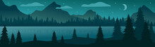 Panoramic Mountain Evening Landscape On The Background Of A Dense Forest - Vector