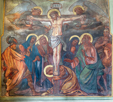 VIENNA, AUSTIRA - JUNI 24, 2021: The Fresco Of Crucifixon In The Church Marienkirche By Josef Dragan (1905).