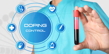 Doping Control. Virtual Icons And Doctor Holding Test Tube With Blood Sample On Light Background, Closeup
