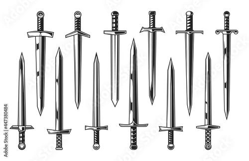 Fotografie, Obraz European knight medieval swords, heraldry