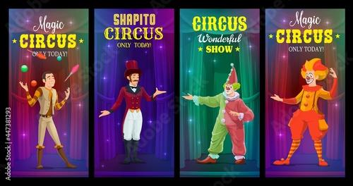 Shapito circus clowns, juggler and magician vector banners Fototapeta