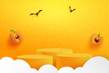 Happy Halloween Banner Background And Podium Platform Template.Halloween Pumpkins And Flying Bats On Orange Background.