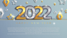 Christmas And New Year Banners With 3d Gold And Silver Trinkets. 2022 Numbers With Gray Background. Vector Illustration. Winter Vacation