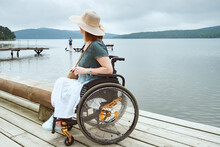 Disabled Woman Enjoying The Beautiful View Of The Seascape