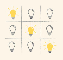 Creative Idea And Inspiration Concept With Light Bulb On Ox Or Tic Tac Toe Game. Business Direction And Planning. Business Development. Vector Illustration.