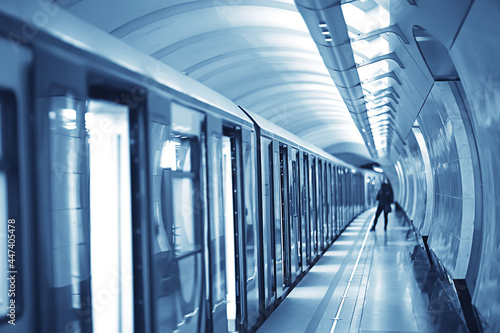 Fotografie, Tablou wagon train subway movement, transportation concept abstract background without